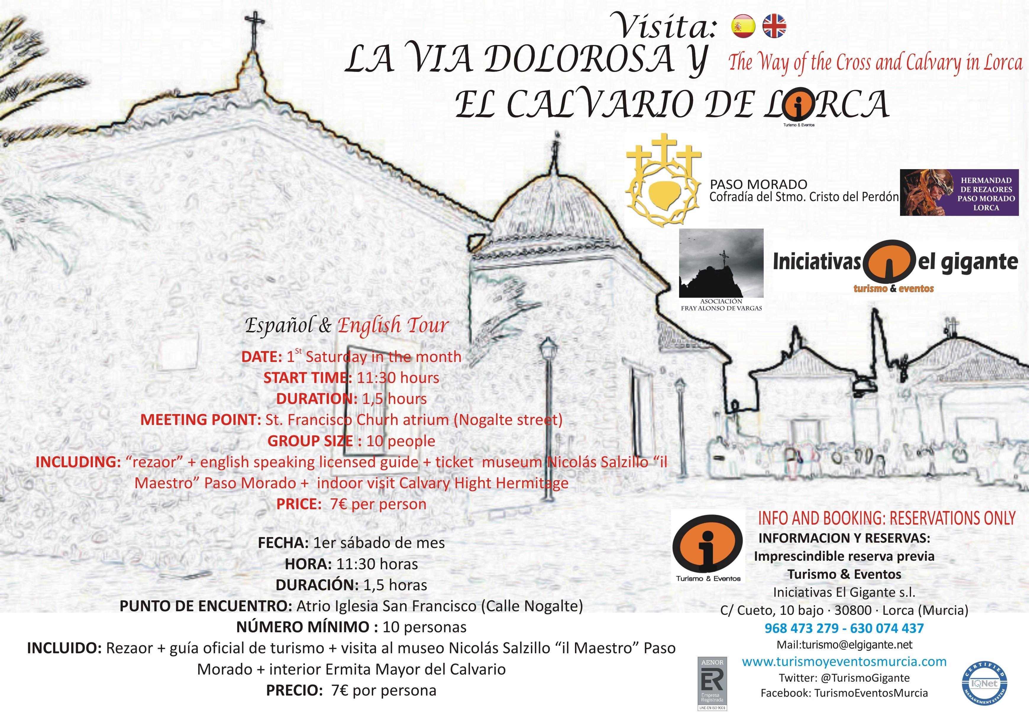 CARTEL PASO MORADO RUTA LA VIA DOLOROSA Y EL CALCARIO DE LORCA